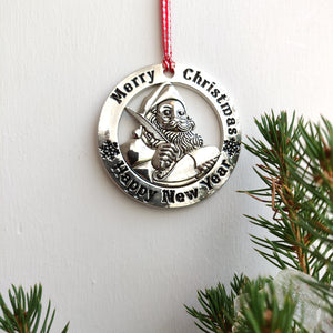 Scottish Hanging Christmas Roundel Santa