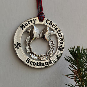 Scottish Hanging Christmas Roundel Christmas Wreath