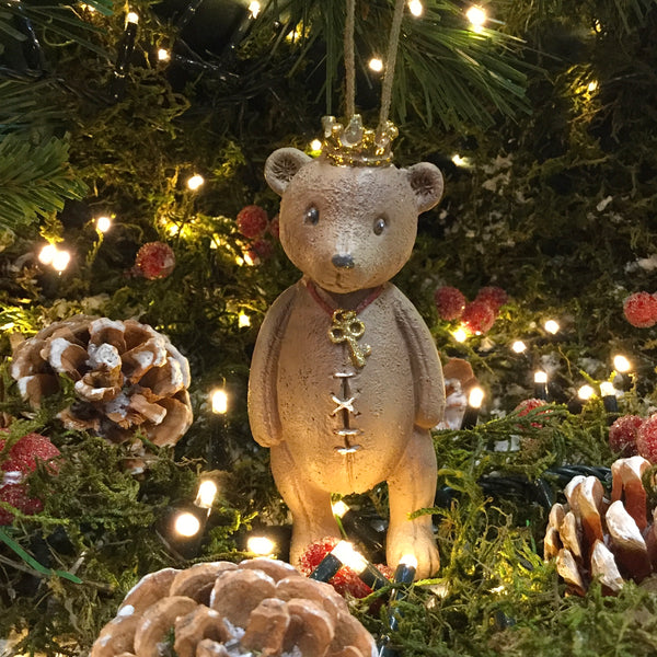 Hanging Teddy Bear with Golden Crown