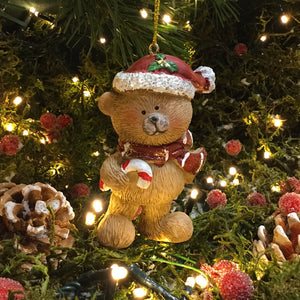 Hanging Bear with Santa Hat and Candy Cane
