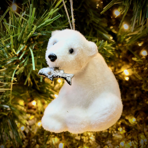 Sitting Polar Bear with Fish