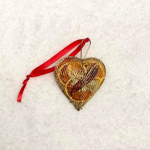 Hanging Metal Mesh Case: Gold Heart