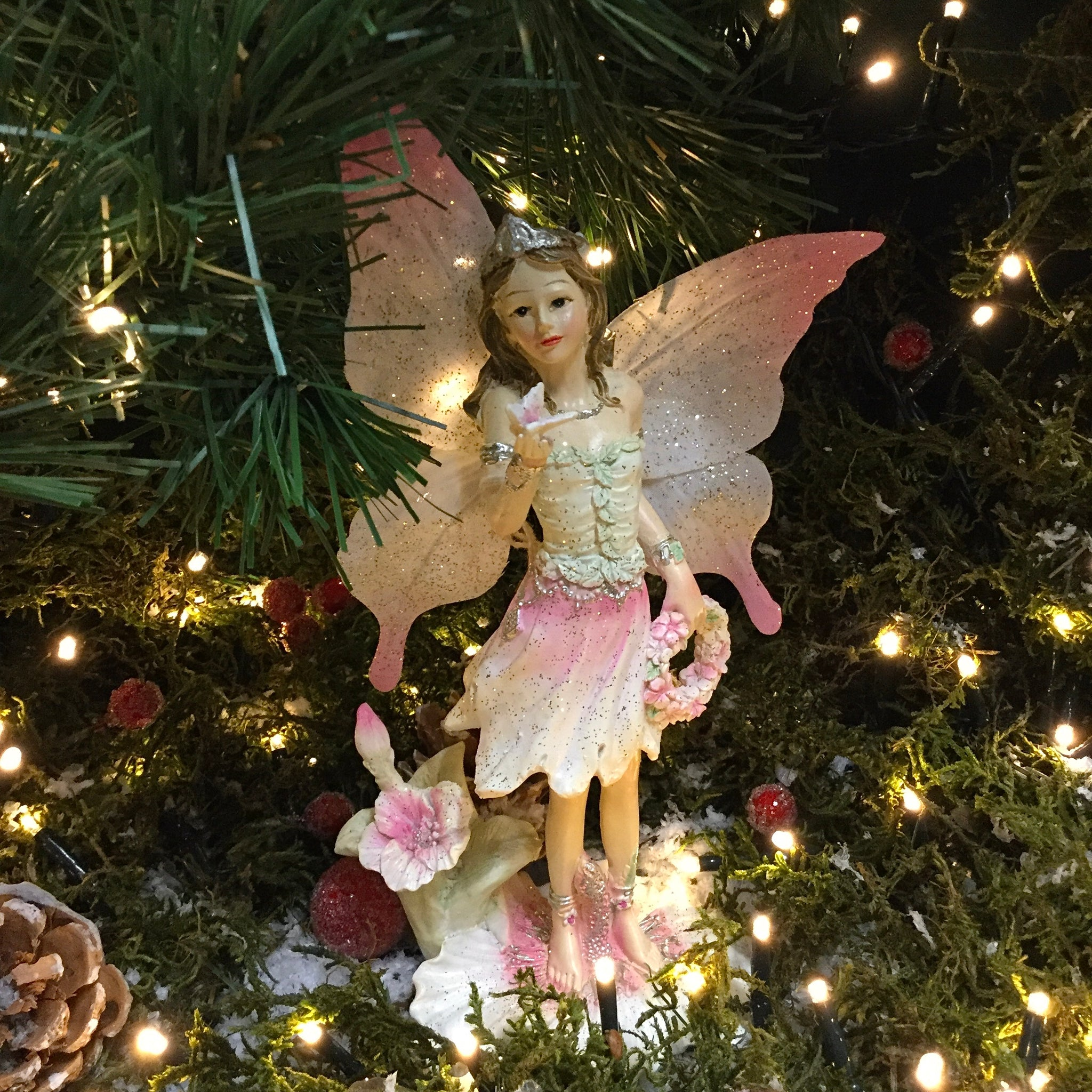 Standing Pink Fairy with Butterfly
