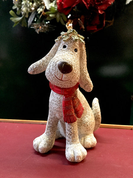 Dog with Red Scarf and Holly Crown