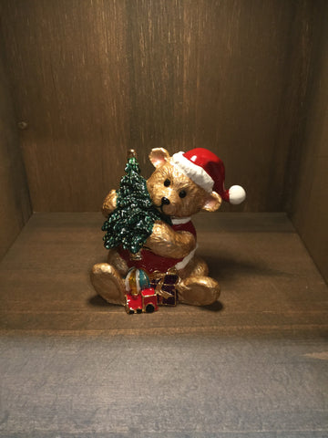 Teddy bear with a Christmas Tree Trinket Box