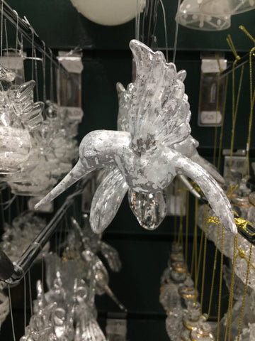 Glass Silver Hummingbird