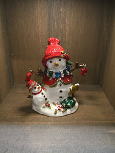 Snowman and Baby Snowman Trinket  Box