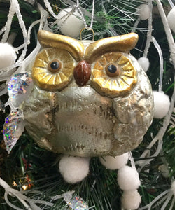 Silver and Gold Owl Hanging