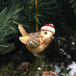 Small hanging robin with Christmas hat