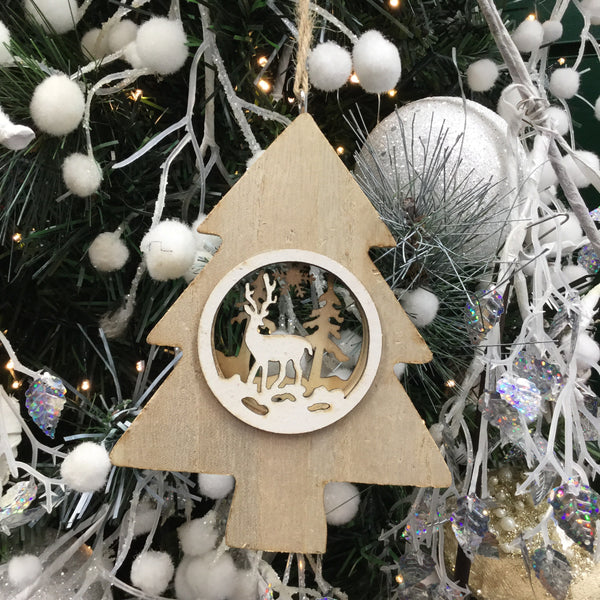 Hanging Wooden Christmas Decoration Tree