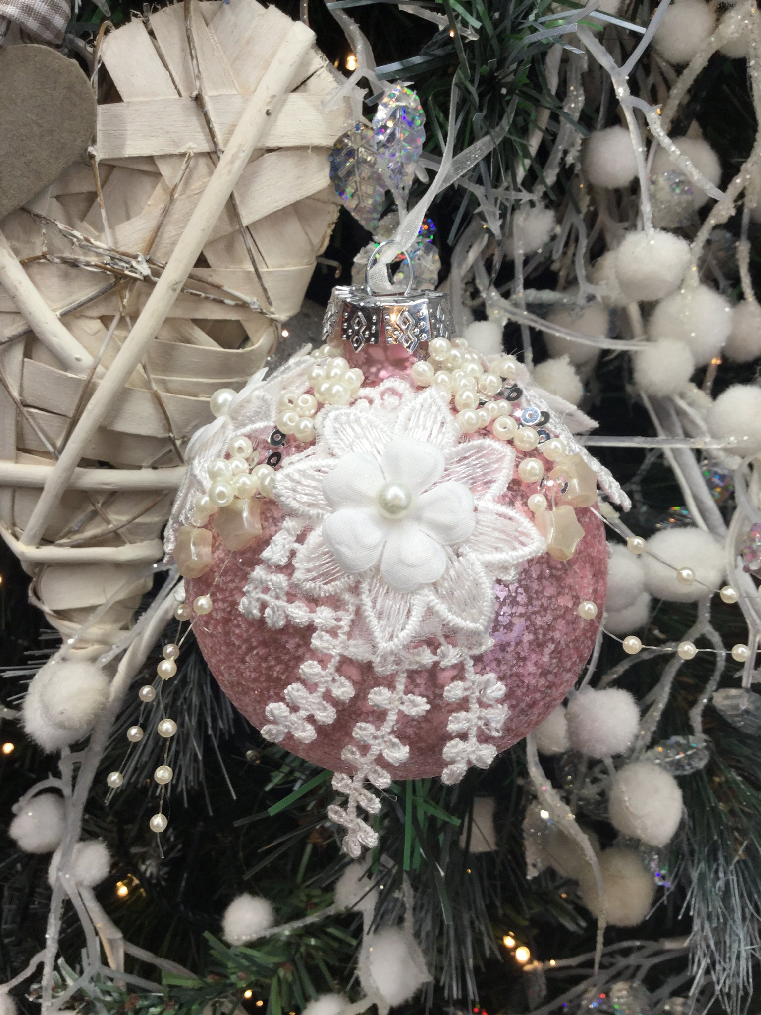 Pink Bauble with Floral Lace Design