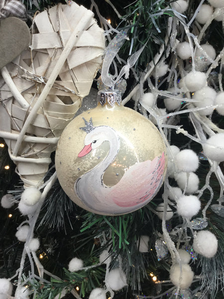 Champagne Bauble with a Swan