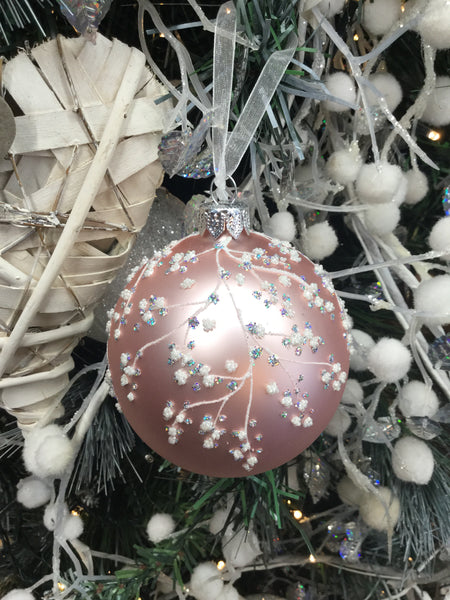 Pink Bauble with Beaded blossom design