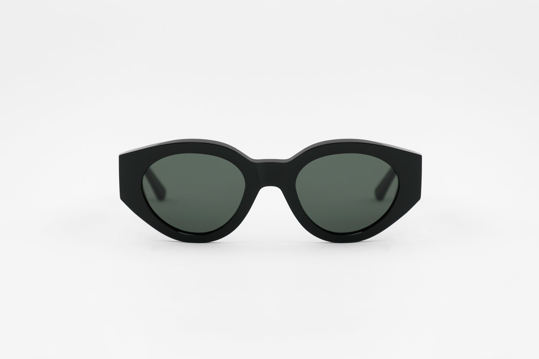 monokel eyewear sunglasses polly black / green solid lens