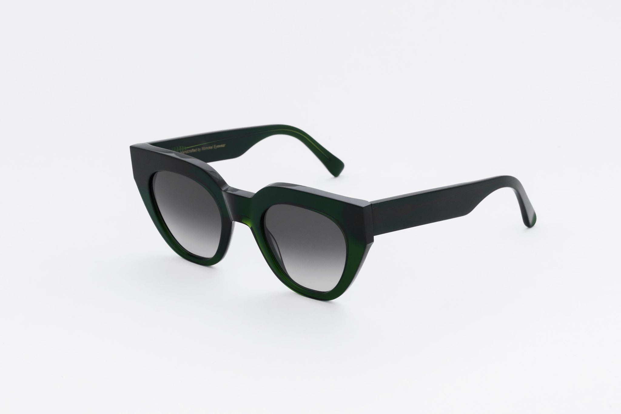 monokel eyewear sunglasses hilma bottle green / grey gradient lens