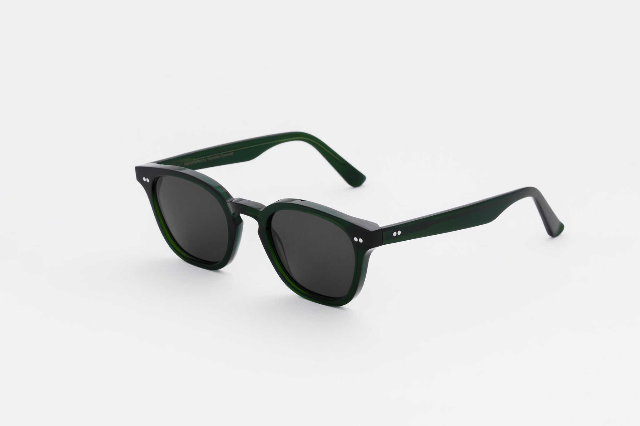monokel eyewear sunglasses river bottle green / grey solid lens