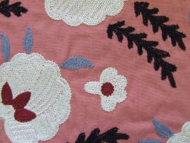 Wightwick Embroidery 234550 Coral/Charcoal