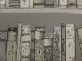 =Library Books Wallart Sepia