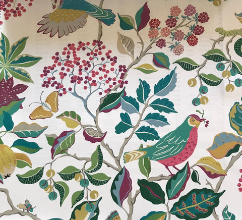 Sanderson Fabric Birds and Berries Fern 226730