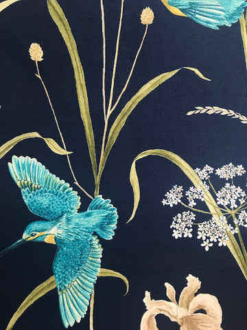 Sanderson Fabric Kingfisher & Iris - Navy/Teal 226733