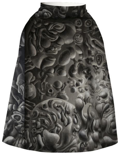 Neoprene Skirt monochromatic painting design