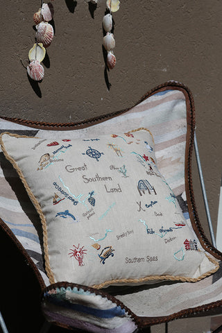GREAT SOUTHERN LAND EMBROIDERED CUSHION COVER