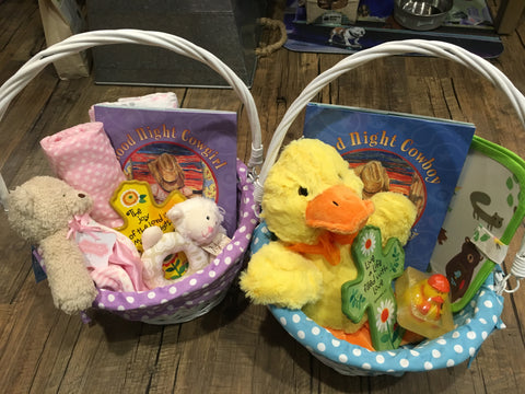 Easter basket ideas the provision house for a sweet young girl i went with a bear cuddler lovie the layette swaddle blankets the book good night cowgirl lamb rattle bible verse ceramic negle Images