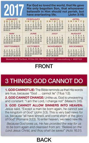 2017 Calendar Card: 3 Things God Cannot Do