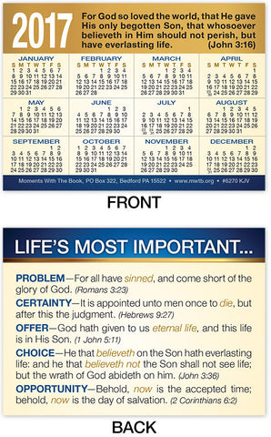 2017 Calendar Card: Life's Most Important
