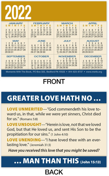 Calendar Card: Greater Love (Personalized)