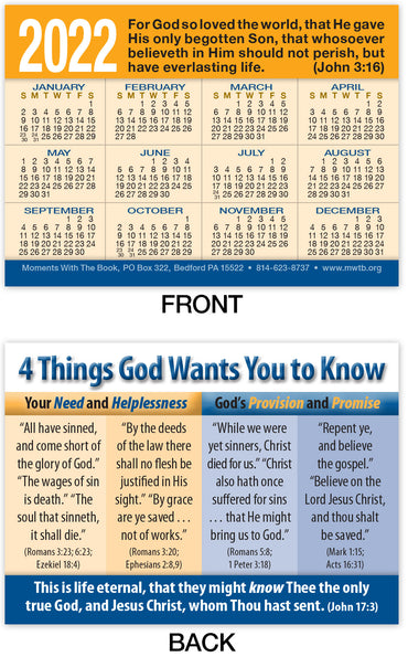 Calendar Card: Four Things God Wants You to Know