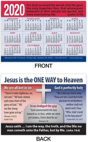 Calendar Card: Jesus Is The One Way to Heaven