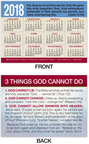 2018 Calendar Card: 3 Things God Cannot Do