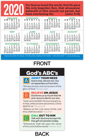 2020 Calendar Card: God's ABC's
