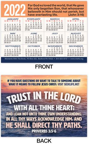 Calendar Card: Trust In The Lord
