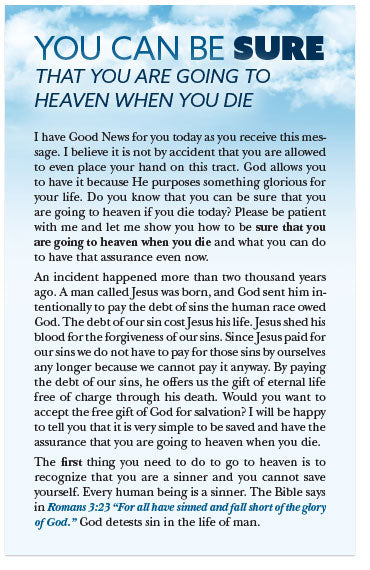 You Can Be Sure That You Are Going to Heaven When You Die (Preview page 1)