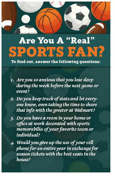 "Are You A ""Real"" Sports Fan? (Preview page 1)"