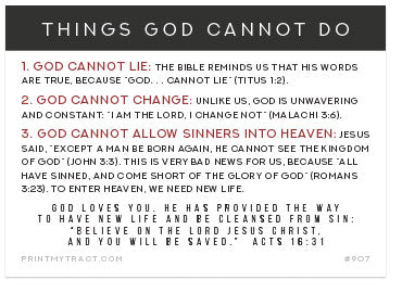 Things God Cannot Do (Customizable Mini Tract)