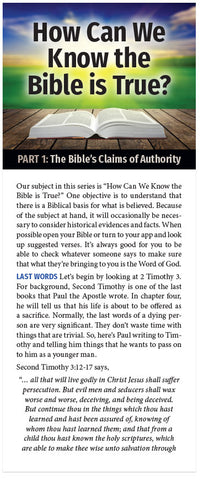 How Can We Know The Bible Is True? (Part 1 of 5)