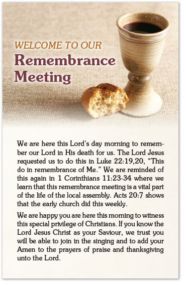 Welcome to Our Remembrance Meeting (Preview page 1)