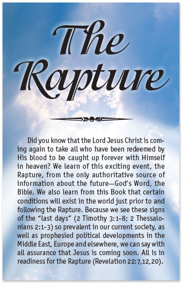 Gospel Tract – The Rapture – Moments With The Book