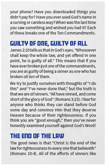 gospel tract the ten commandments moments with the book