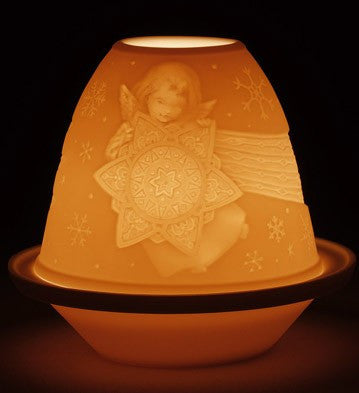 LITHOPHANE VOTIVE LIGHT -ANGEL WITH STAR 1017341