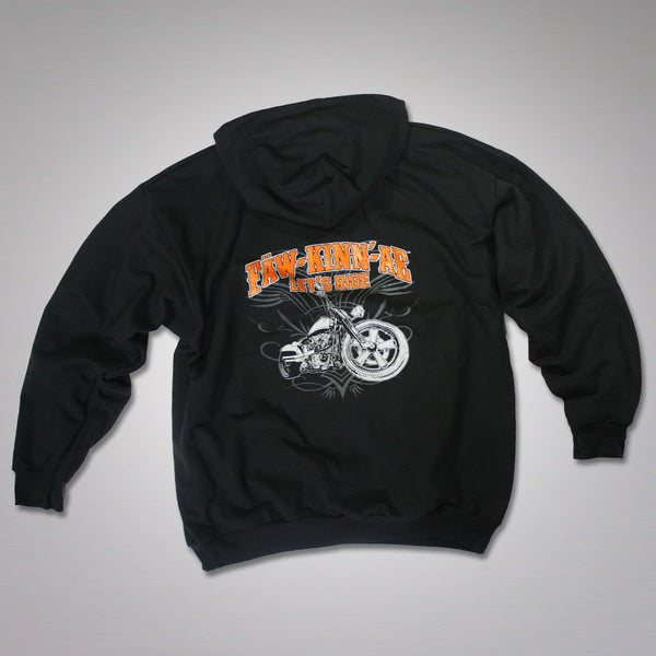 Motorcycle biker hooded sweatshirt - black, Fawkinnae