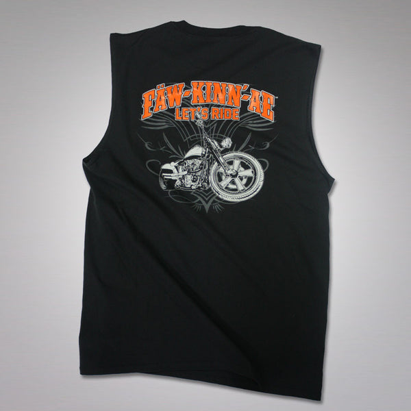 Motorcycle biker sleeveless t-shirt - Black, Fawkinnae