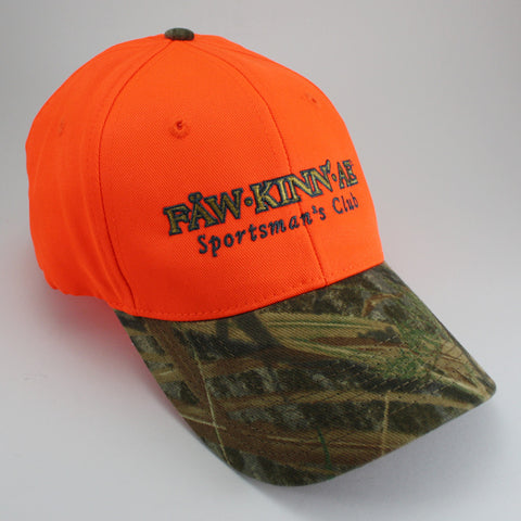 Blaze orange hunting cap - camo bill, Fawkinnae