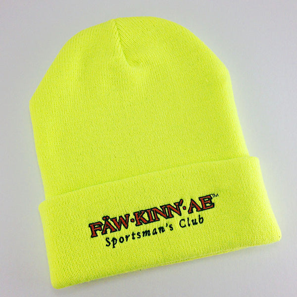 Neon green knit stocking cap - fishing, Fawkinnae