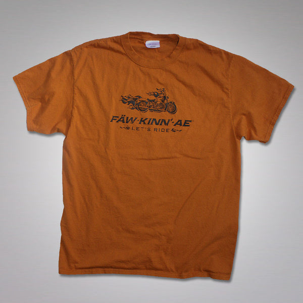 Vintage motorcycle biker t-shirt - orange, Fawkinnae