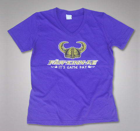 FAWKINNAE It's Game Day - Women's V-neck Short-sleeved T-shirt