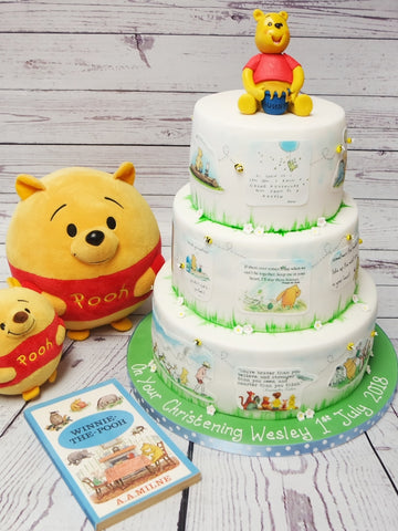 Christening Cake with Winnie the Pooh Theme